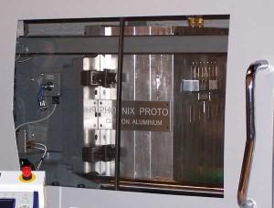 Aluminum Tool Showing B Side Inside Injection Molding Machine